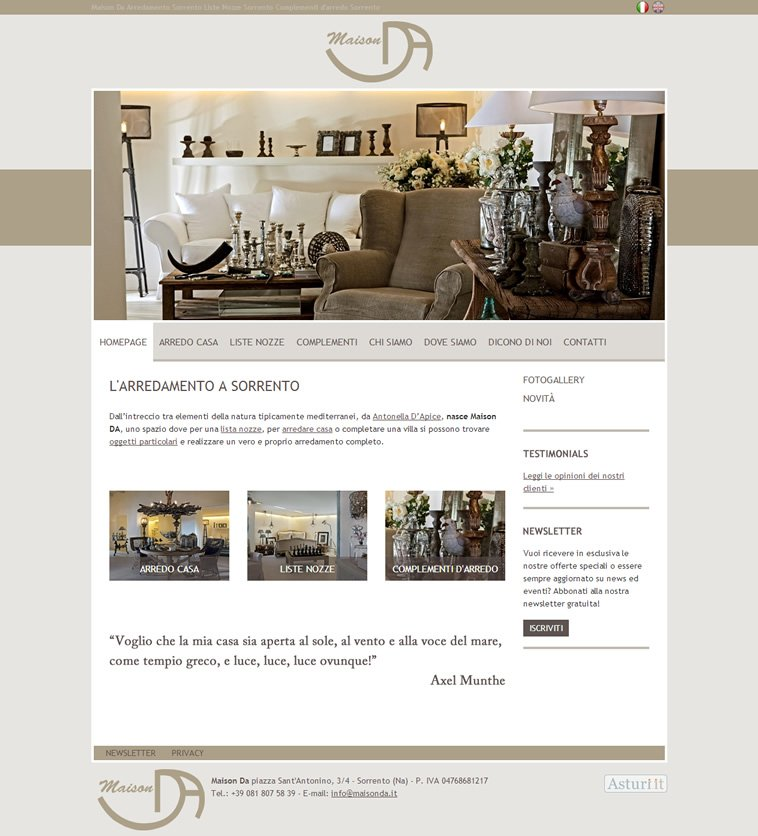 Realizzazione sito arredamenti maison da sorrento for Maison arredamento