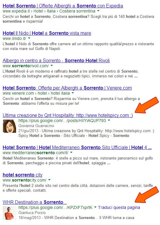 Google Social Search - esempio 1