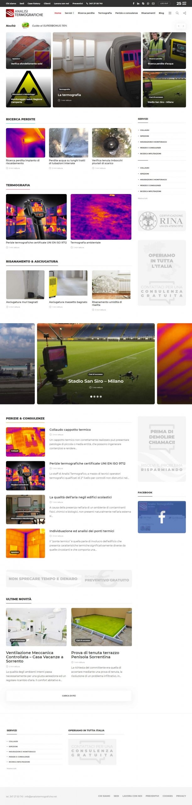 Restyling sito analisi termografiche - home page