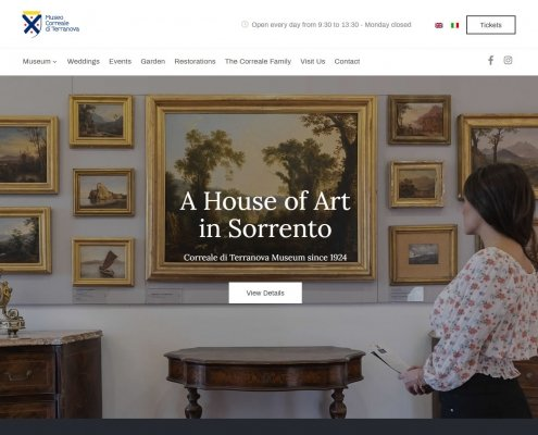 Restyling sito museo Correale Sorrento - home page above the fold