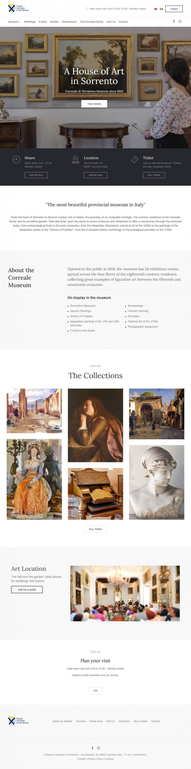 Restyling sito museo Correale Sorrento - home page